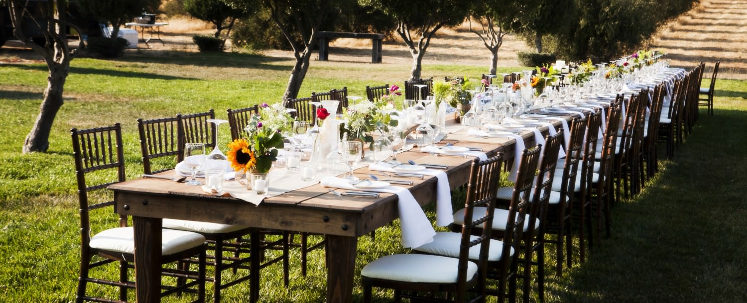Outdoor wedding reception at The Purple Orchid