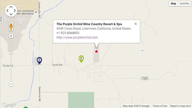 Map to The Purple Orchid Wine Country Resort & Spa