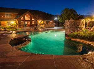 Purple Orchid pool at night
