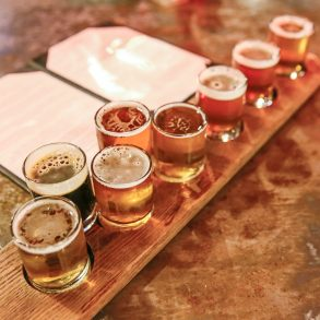 a flight of craft beer at a livermore brewery