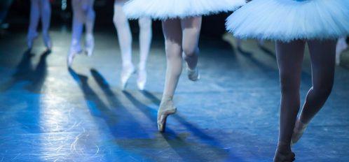 Ballet statement. Ballerinas in the movement. Feet of ballerinas close up at the SF Ballet Nutcracker.