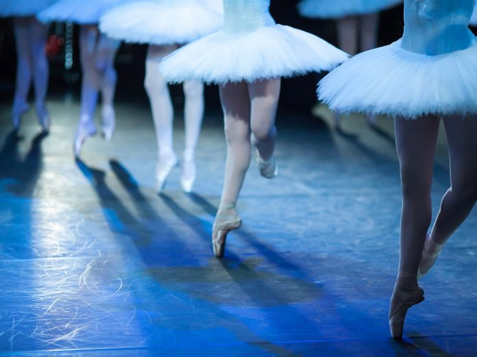 Ballet statement. Ballerinas in the movement. Feet of ballerinas close up at the SF Ballet Nutcracker.
