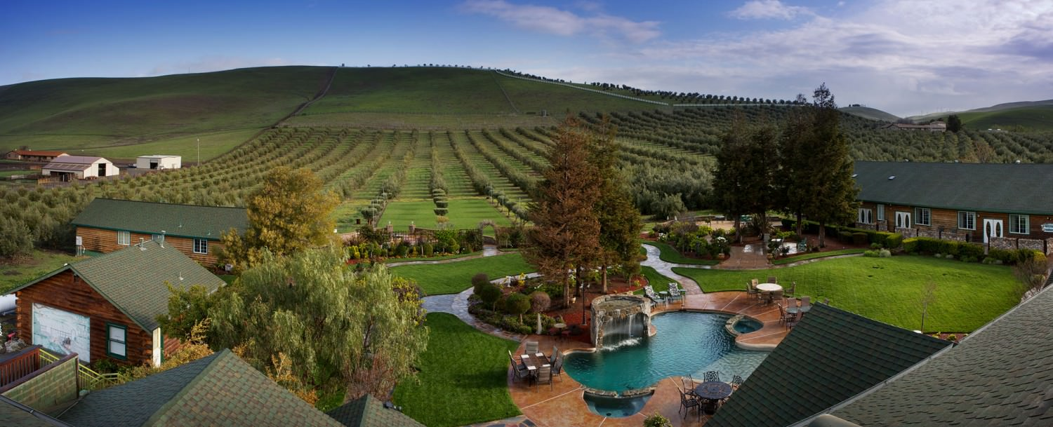 The pool and surrounding valleys at The Purple Orchid Resort & Spa.