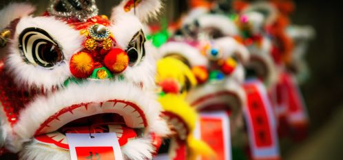 Traditional colorful chinese lion made of paper